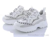 Кроссовки натур. замша+сетка с камнями белые
