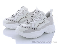 Кроссовки замш+сетка с камнями белыми