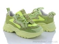 Кроссовки натур. замша+сетка с камнями зеленые