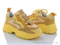 Кроссовки замш+сетка с камнями желтыми