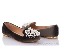 842-410 туфли женские бархат отд.жемчуг коричневые